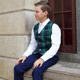 Blazer privé fait sur commande de plaid de vert d'uniforme scolaire