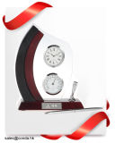 De Klok van de lijst met de Houder, de Thermometer of de Hygrometer van de Pen