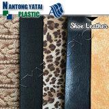 Couro sintético da grão do leopardo para a parte superior de sapatas de Ladys