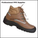 Altos zapatos de trabajo de acero de la seguridad de la punta del cuero genuino del corte