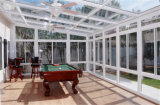Gazebo de cristal de madera revestido de aluminio de la doble vidriera, Sunroom de aluminio material del jardín del marco de la aleación de aluminio