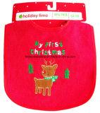 Le produit d'OEM a adapté les bavoirs infantiles promotionnels de festival adaptés aux besoins du client par coton brodés par Chistmas