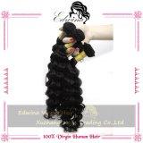 Cor preta natural de trama do Weave profundamente Curly Curly peruano do cabelo humano do Virgin da onda