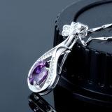 女性の方法925純銀製のヨーロッパのレトロの中国琵琶の紫色の吊り下げ式のネックレス
