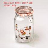 1.5Lガラスふたが付いている円形のガラス食糧記憶の瓶のガラス容器