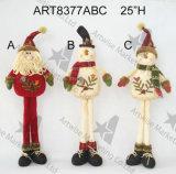 Decoração ereta equipada com pernas longa do Natal do boneco de neve de Santa, -3asst.