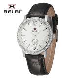 Belbi Mann-und Frauen-Uhr-Form-Luxuxserien-Leder-wasserdichte Quarz-Uhr