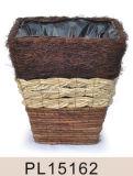 Квадратные ротанг Salim & плантатор листьев травы