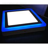 Panneau de DEL Light- - panneau monté encastré de couleur du grand dos deux 6+2 W avec le bord carré bleu