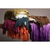 Coperta calda lavorata a maglia del coperchio dello strato per il sofà con frangia