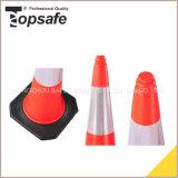 cono del tráfico del LDPE de los 75cm con la base de goma negra