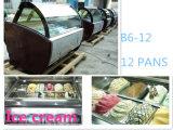 Vendita diretta della vetrina del gelato di Gelato