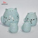 Supporti di candela di ceramica di figura del gatto/agitatori di pepe e di sale/regalo