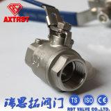 Plein robinet à tournant sphérique du port 2PC d'acier inoxydable avec verrouiller le dispositif