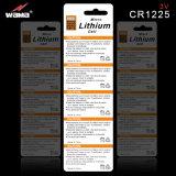 Bateria Cr1225 da pilha da tecla do manganês do lítio