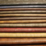 Couro artificial do PVC do plutônio da alta qualidade elástica superior do Sell para a bolsa do saco das sapatas (E6085)
