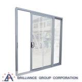 Puerta deslizante de aluminio interior o exterior de la brillantez del vidrio Tempered