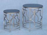中国の工場からのステンレス鋼の&Roundのコーヒーテーブルのセット