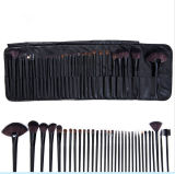 32PCS黒いPUの革製バッグが付いている専門の装飾的なブラシセット