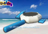 Trampoline inflável da água com corrediça e registro