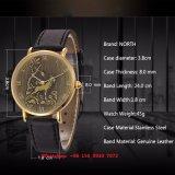 Relógio de projeto especial de quartzo com a cinta de couro genuína Fs549