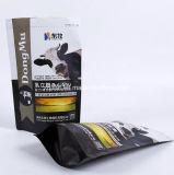 Saco de pé plástico do alimento da vaca do animal de estimação do Zipper do reforço inferior