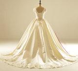 Мантия венчания юбки Pleat шеи шлюпки