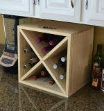 Crémaillère profonde de cube en vin de bouteille en bois de pin de modèle 24