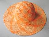Sombrero de paja grande del borde con el modelo