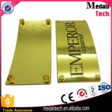 الصين مصنع ليّنة مينا علامة تجاريّة معدنة نوع ذهب لون عالة حقيبة علامة مميّزة