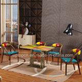 Tabella da tavolino multicolore di legno del ristorante e presidenza di cuoio (SP-CT817)