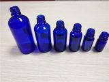 5ml, 10ml, 20ml, 30ml, 50ml, frasco de petróleo essencial líquido do vidro do sabor da cor 100ml azul (EOB-1)