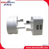 Adattatore BRITANNICO del caricatore di corsa del USB del doppio della spina del dispositivo del telefono mobile