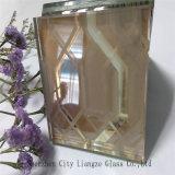 el vidrio del Negro-Espejo de 10mm+Silk+5m m modificó el vidrio/del arte para requisitos particulares gafa de seguridad impresa seda del vidrio/para la decoración