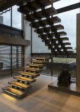 Form-gerades Glastreppenhaus der Dreiergruppen-/drei Tragbalken U
