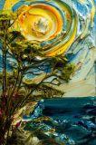 칼 색칠 조경 바다와 나무