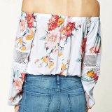 Form-Blumen-Häkelarbeit-hohles Nähen weg von der Schulter-Bluse