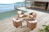 Mobília ajustada de jantar ao ar livre de vime do pátio
