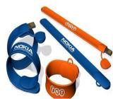Bracelete impermeável do USB do logotipo feito sob encomenda, bracelete do USB do silicone