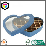 Boîte rigide à chocolat de cadeau de papier de carton de forme de coeur avec le guichet