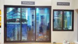 Раздвижная дверь панели алюминиевой рамки 100 серий стеклянная с сетью москита