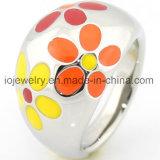 Diseño de acero de la flor del anillo del esmalte colorido al por mayor
