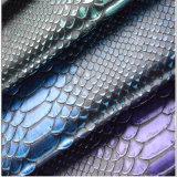 couro Eco-Friendly do plutônio do teste padrão do crocodilo de 1.1mm para os sacos ou as sapatas (HTS018)