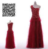 A - linha/Sequin da princesa uma ombro/vestidos vermelhos completos baile de finalistas de Tulle