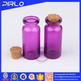 (10ml20ml)木のコルクが付いている紫色カラーガラスビン