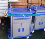ABS van China de Goedkope Plastic Kar van het Nut Drie Lagen van het Medische Karretje met Afsluitbare Wielen