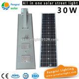 30W économie d'énergie tout dans un réverbère solaire Integrated