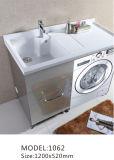 Cabina de cerámica gris blanca de la vanidad del cuarto de baño del lavabo del acero inoxidable