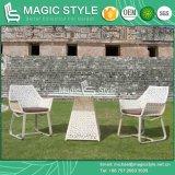 花の編む椅子の屋外のコーヒーセットの藤の椅子