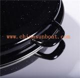 Dispositivo de cozinha oval preto do Kitchenware/da bandeja de cozimento do forno da caçarola do Roaster do esmalte de Sunboat